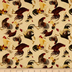 Rustin Roosters Tossed Rooster Print Cream Fabric
