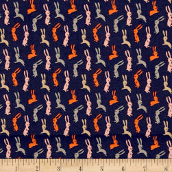 Dwelling Bunnies Navy Fabric