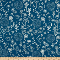 Farm Fresh Floral Outline Blue Fabric