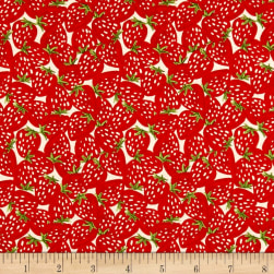 Farm Fresh Strawberries Red Fabric