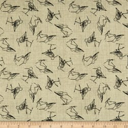 Give Me The Sea Sandpipers Tan Fabric