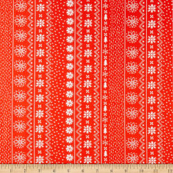 Happy Holidays Sweater Stripe Red Fabric