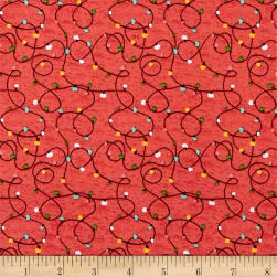 Holly Jolly All The Way Lights Red Fabric