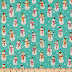 Santa And Friends Snowman Turquoise Fabric