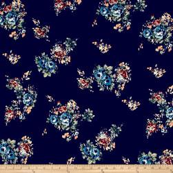 Double Brushed Jersey Knit English Roses Blue on Navy Fabric