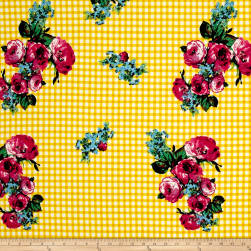 Double Brushed Jersey Knit Roses on Gingham Magenta/Yellow Fabric