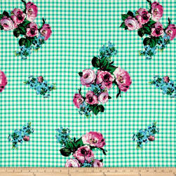 Double Brushed Jersey Knit Roses on Gingham Purple/Mint Fabric