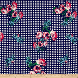 Double Brushed Jersey Knit Roses on Gingham Fuschia/Navy Fabric