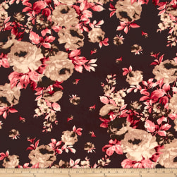 Double Brushed Jersey Knit Roses Burgundy/Tan Fabric