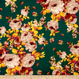 Double Brushed Jersey Knit Roses Hunter/Stone Fabric