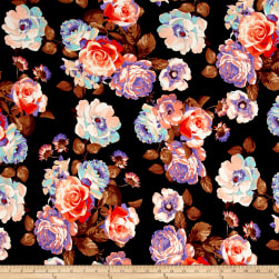 Double Brushed Jersey Knit Blooming Roses Peach/Black Fabric