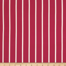 Double Brushed Jersey Knit Medium Stripe Coral Fabric
