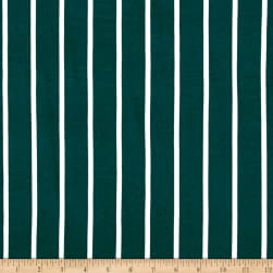 Double Brushed Jersey Knit Medium Stripe Hunter Fabric