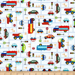 Off We Go Road Traffic White Fabric