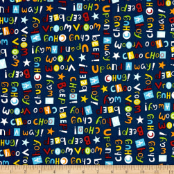 Off We Go Words Navy Fabric