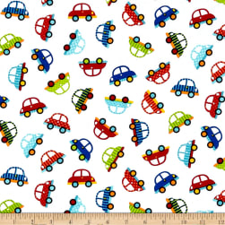 Off We Go Tossed Cars White Fabric