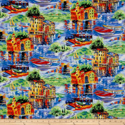 Fabri-Quilt Portofino Large Village Scene Multi Fabric