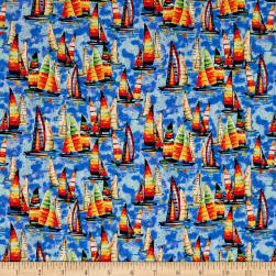 Fabri-Quilt Portofino Sailboats Multi Fabric