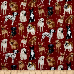 My Pet Family Allover Puppies Red/Multi Fabric