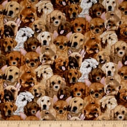 My Pet Family Puppy Collage Tan Fabric