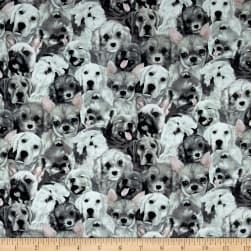 My Pet Family Puppy Collage Slate Fabric