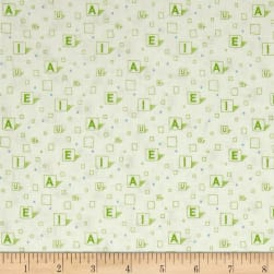 On Your Mark Scattered Vowels Avocado Fabric