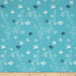 On Your Mark Large Scale Etchings Aqua/Multi Fabric