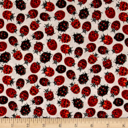 Frolicking Fields Tossed Lady Bugs Cream/Multi Fabric