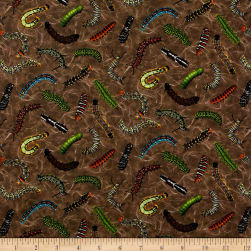 Frolicking Fields Tossed Caterpillars Earth/Multi Fabric