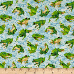 Frolicking Fields Tossed Frogs Light Blue/Multi Fabric