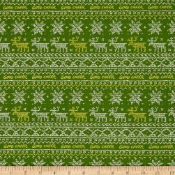 Andover Good Cheer Sweater Metallic Evergreen Fabric