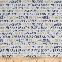 Andover Good Cheer Happy Holidays Metallic Navy Fabric