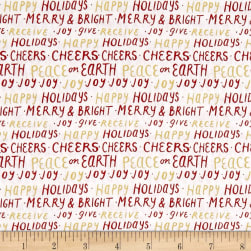 Andover Good Cheer Happy Holidays Metallic Crimson Fabric