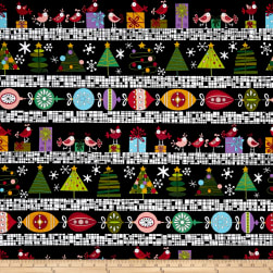 Andover Holiday Tweets Border Stripe Black Fabric
