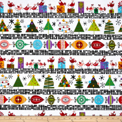 Andover Holiday Tweets Border Stripe White Fabric