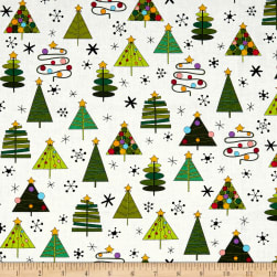 Andover Holiday Tweets Trees White Fabric