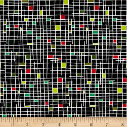 Andover Holiday Tweets Grid Midnight Fabric