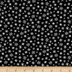 Andover Holiday Tweets Snow Black Fabric