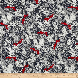 Andover Winter Berries Bows and Bells Shale Fabric