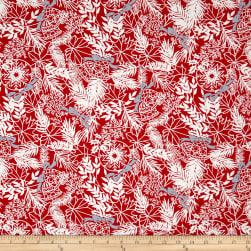 Andover Winter Berries Bows and Bells Crimson Fabric
