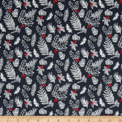 Andover Winter Berries English Holly Shale Fabric