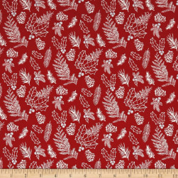 Andover Winter Berries English Holly Crimson Fabric
