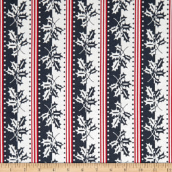 Andover Winter Berries Holiday Stripe Shale Fabric