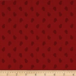 Andover Winter Berries Pine Cones Crimson Fabric