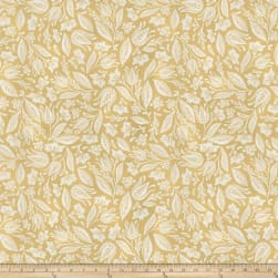 Miss Mustard Seed Bunnies Birds & Bloom Leafed Out Mustard Seed Yellow Fabric