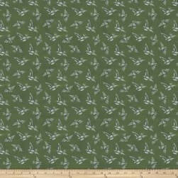 Miss Mustard Seed Bunnies Birds & Bloom Scattered Flock Boxwood Fabric