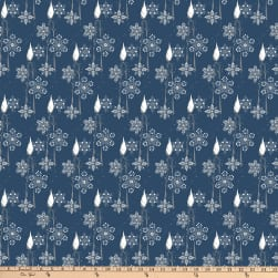 Designer Essentials Mid Century Christmas Candles Blue Fabric