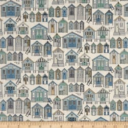 Andover/Makower UK Beachcomber Beach Huts Natural Fabric