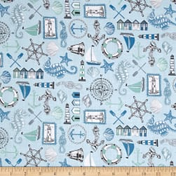 Andover/Makower UK Beachcomber Icons Blue Fabric