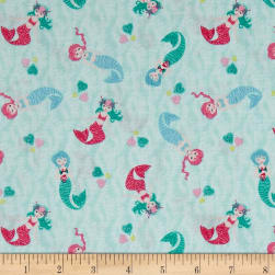Andover/Makower Mermaid Scatter Teal Fabric